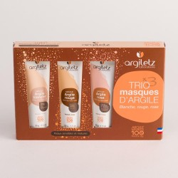 Coffret trio masques d'argile peaux sensibles et matures - ArgileTz klessentiel.com