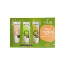 Coffret trio masques d'argile peaux normales ou grasses - ArgileTz klessentiel.com